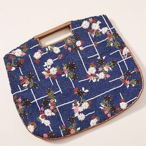 NWT Anthropologie Floral Grid Beaded Clutch